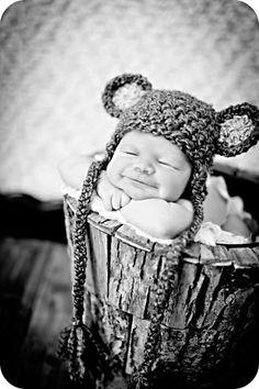 Teddy Bear Hat Newborn Photography Prop With by MitziKnitz on Etsy, $22.00