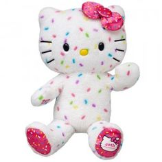 The 40th Anniversary Hello Kitty is an 18-inch stuffed animal of the iconic cat with rainbow confetti fur and a pink confetti bow.