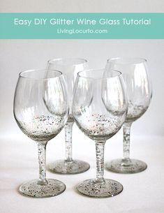 How to make a DIY Glitter Wine Glass - Easy Craft Tutorial by Amy Locurto LivingLocurto.com