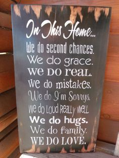 In This Home We Do...Hand Painted Rustic Wooden Sign Home Decor. $29.99, via Etsy.