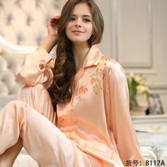 Shaya Lee noble brand Mulberry silk home clothes long sleeve v-neck silk pajamas women fall/winter two piece set