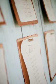 Rustic Paper Seating Chart #copper and #cream | photography by http://www.kristynhogan.com | stationery by http://www.sagenines.com/