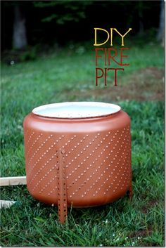 diy-metal-fire-pit made from dryer drum