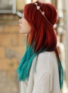 Red with Green Dip Dye