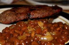 Two cans of Pork n Beans Bacon, Onion ,Brown Sugar, Worcestershire sauce , mustard  whats not to love about this easy bake bean recipe.