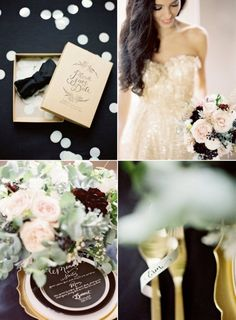black, mint, and gold wedding details