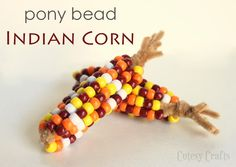 Pony Bead Indian Corn - Fun and easy Thanksgiving craft for the kids! by Guest Blogger Jessica from Cutesy Crafts