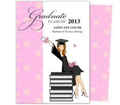 Printable DIY Grad Announcements : Feminine Wealth Design Graduation Announcement Template. Edit with Microsoft Word, Publisher, or Apple iWork Pages.