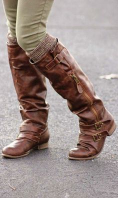 Leather Long Boots and Leg Warmers