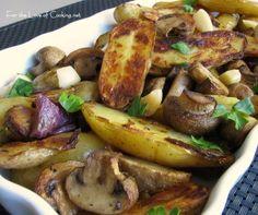 Roasted Fingerling Potatoes, Mushrooms, Red Onions and Garlic #vegan