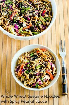 Whole Wheat Sesame Noodles with Spicy Peanut Sauce.