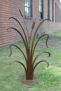 Handforged Garden Sculpture. Cattails with by PhoenixHandcraft, $680.00