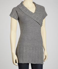 Gray Short-Sleeve Surplice Sweater #zulily #ad *Want