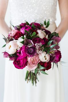 magenta and petal pink peony and ranunculus bouquet by Flowers by Yona