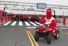 Red Phanatic leads the way during the Phillies 5K!  Can't wait :)