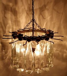 15 wine bottle chandelier--what to do with all those empty wine bottles