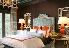 bedroom red turquoise, headboard, orang, color combos, chocolate brown, chinoiserie bedroom, master bedrooms, hous, chinoiserie chic