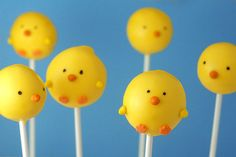 Baby chick Easter cakepops.  By Bakerella.