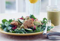 Raspberry Chicken Salad with Avocado-Lime Dressing {Paleo}