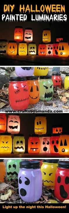 Full tutorial on how to make these AWESOME luminaries ghouls for Halloween! I LOVE all the colors and faces! From Amanda Formaro at Crafts b...