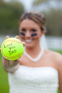 yes!!!!! little girls, balls, idea, wedding pics, softball quotes, weddings, sport, daddys girl, wedding pictures