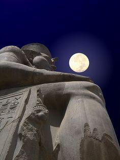 Moon above Ramesses II, Luxor, Egypt