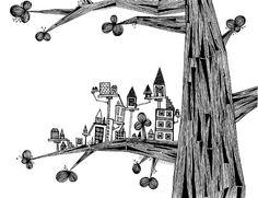 black ink drawing, black and white tree print, art prints, ink pen, doodl, whimsical art, tini citi, white ink, pen drawings