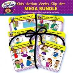 Kids Action Verbs Clip Art MEGA BUNDLE from TeacherScrapbook on TeachersNotebook.com -  (144 pages)  - Who doesn�t like a product BUNDLE? Well you will LOVE this Kids Action Verbs Clip Art MEGA BUNDLE, from Teacherscrapbook! This MEGA BUNDLE combines six existing sets: Kids Action Verbs 1 Clip Art, Kid