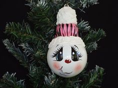 Handpainted Pink Zebra Snowman light bulb by Love2PaintDesigns, $12.00