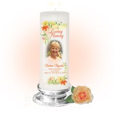 3x9 Pillar Candles : Lily Memorial Pillar Photo Candle White, Unscented. Stand, optional