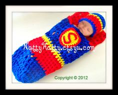 Superbaby crochet cocoon and hat 0 to 12 Months by NattyHatty. , via Etsy.