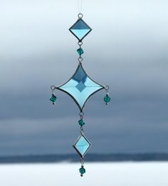 Mobile String of Turquoise Glass Bevels Aqua Glass by SNLCreations