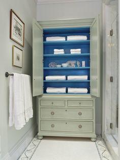 """Anastasia Linen Press"" with agean blue interior by Gary Inman and Joseph Elko for Gary Inman Home Couture interior colors, blue interiors, armoir, linen storage, gari inman, bathroom storage, cabinet, linens, paint"
