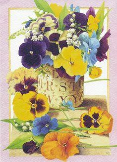postcard, flower, pansi