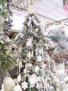 Lovely all White Christmas Tree!!! Bebe'!!! Lovely holiday tree!!!