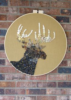 Vintage Button Deer Silhouette Art.   Wow.