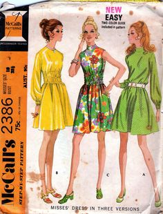 70s Vintage sewing pattern McCalls 2386 Midriff Dress