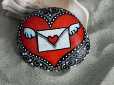 Message in My Heart / Painted Rock / Sandi Pike by LoveFromCapeCod, $39.00