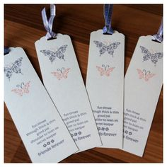 Bookmark for friends! Made these using Stampin up Papillon Potpurri, Hostess-Stack of Wishes, Wisteria Wonder & Blushing Bride ink pads and the new Scalloped Tag Topper Punch. Add a bit of ribbon from my stash and job done!