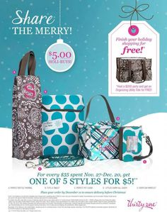 It's a Thirty-One Gifts Party! Check out the new specials, find out which purse I'm loving, and get some Christmas shopping done!