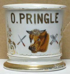 """Shaving Mug, Occupation """"Butcher"""", Owner O. Pringle"""