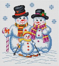 Snowman Family.  Tons of FREE CROSS-SITCH PATTERNS at this site: just found a site that has really easy to download embroidery patterns for free. It's     http://cross-stitchers-club.com/?code_avantage=uucqid     Plus, if you click on this link, http://cross-stitchers-club.com/?code_avantage=uucqid , you'll automatically receive a gift when you subscribe. I use this site all the time; there are hundreds of all different types of patterns, and there are new patterns added everyday.