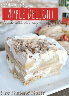 No Bake Apple Delight from sixsistersstuff.com. This is SO easy and tastes AMAZING!!! #dessert #apple #Lucky13