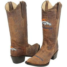 hah. Denver Broncos Womens Embroidered Cowboy Boots - Brown