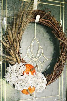 Wheat and Hydrangea Fall Wreath