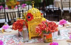 Mexican lanterns and flowers, style me pretty
