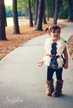 cutest outfit on the cutest little girl i've ever seen. + DIY curly fur vest
