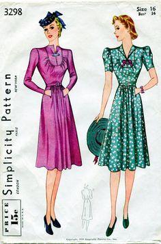 1930s Dress Pattern Vintage Simplicity 3298 by FloradoraPresents, $36.00