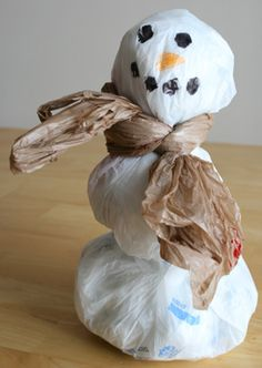 Recycled Grocery Bag Snowman