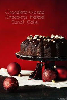 Chocolate-Glazed Chocolate Malted Bundt Cake